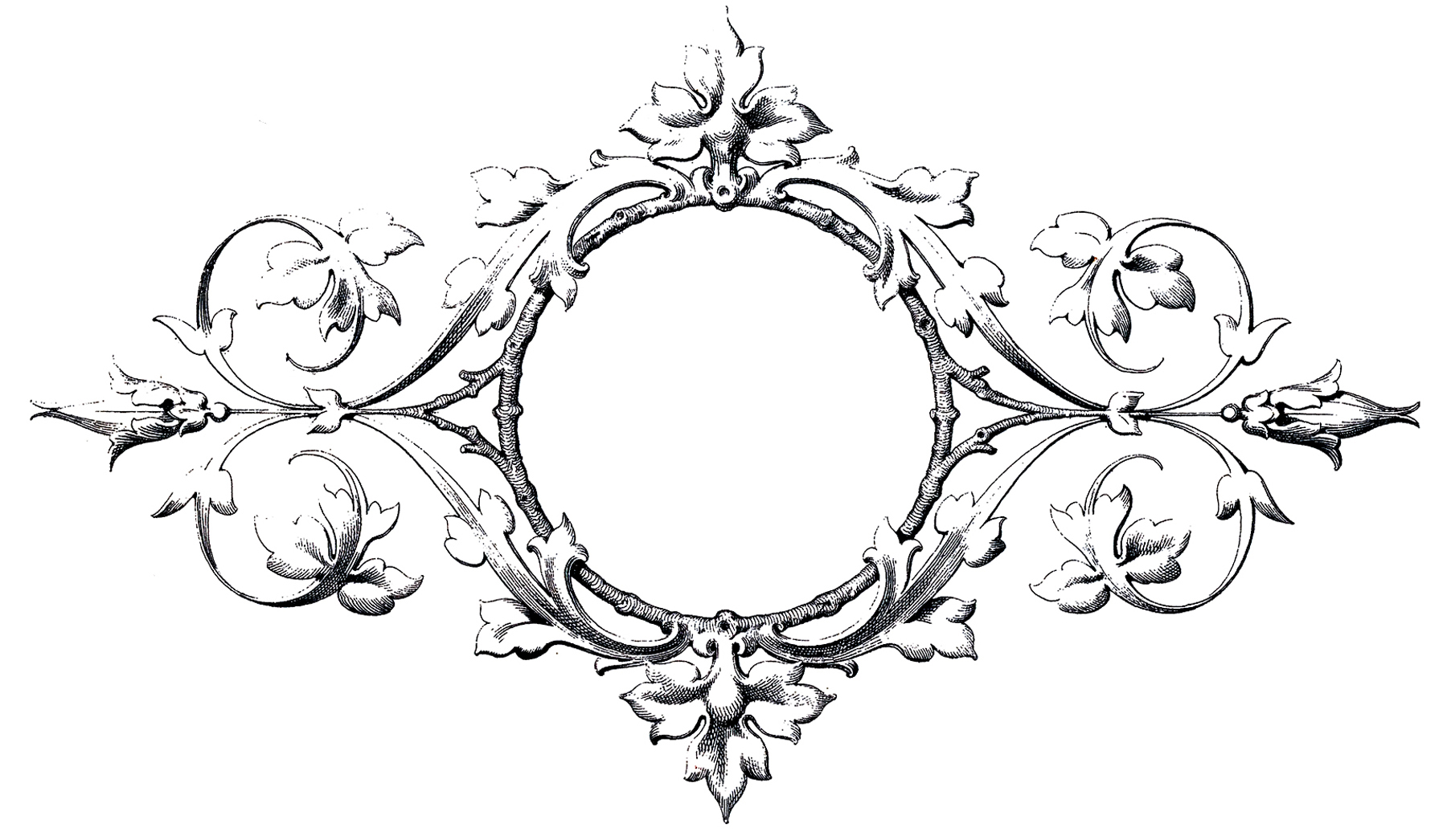 Stunning Scrolls Frame Image!  The Graphics Fairy