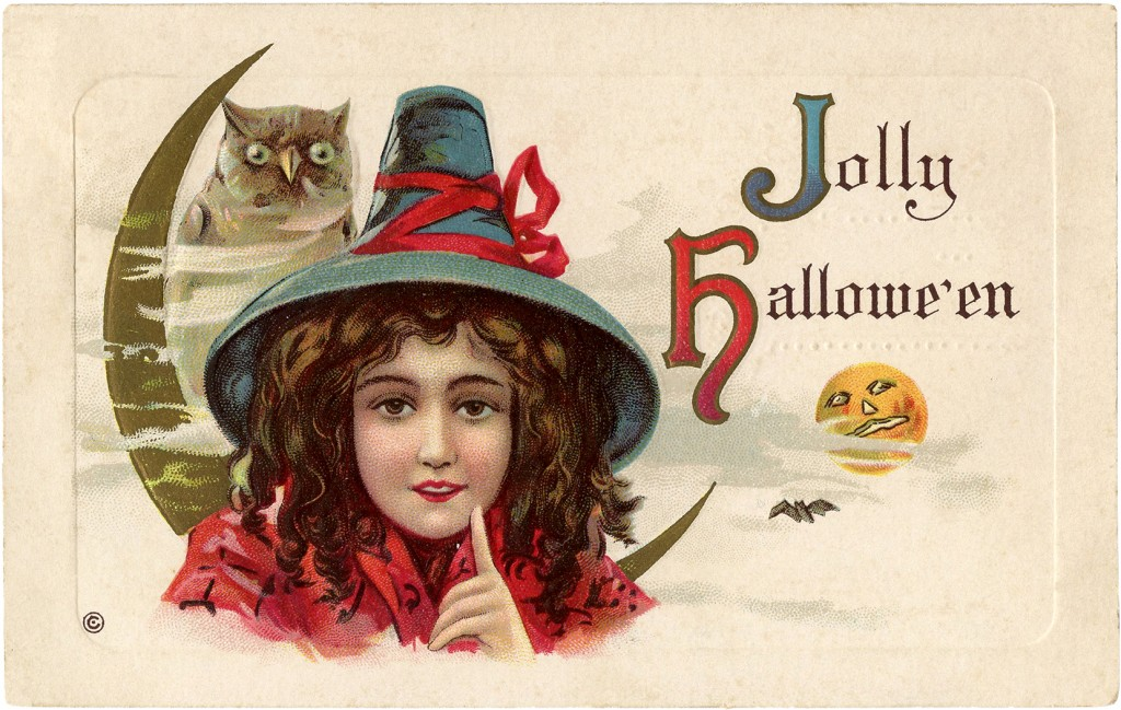 Happy Halloween Owl and Witch Image