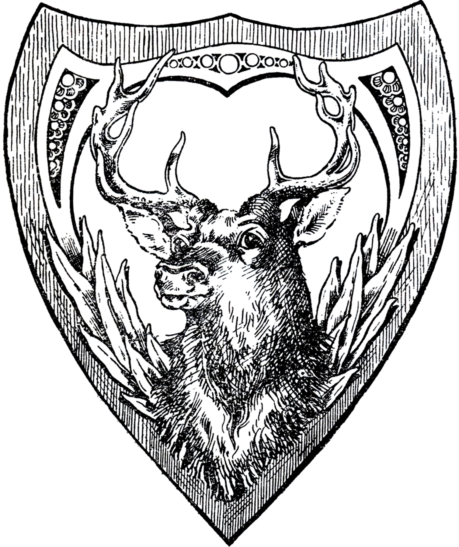 vintage shield deer image