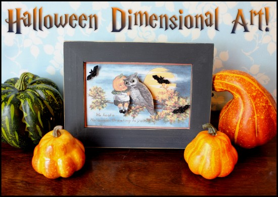 Halloween Dimensional Art with Pumpkin Boy and Owl and Gourdes