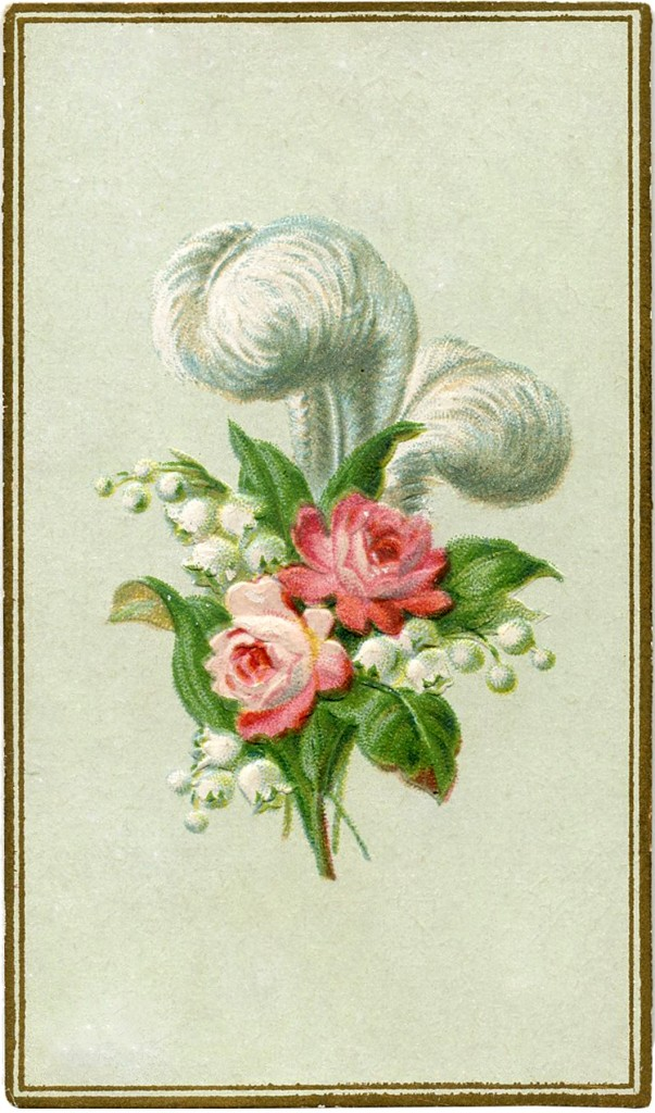 Antique Feather Roses Image