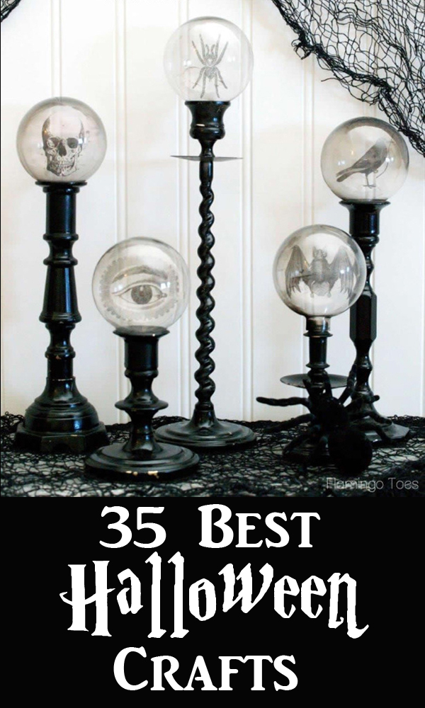 Best Halloween Decoration Ideas and Crafts Pinterest Graphic showing Globes on Candle Holders