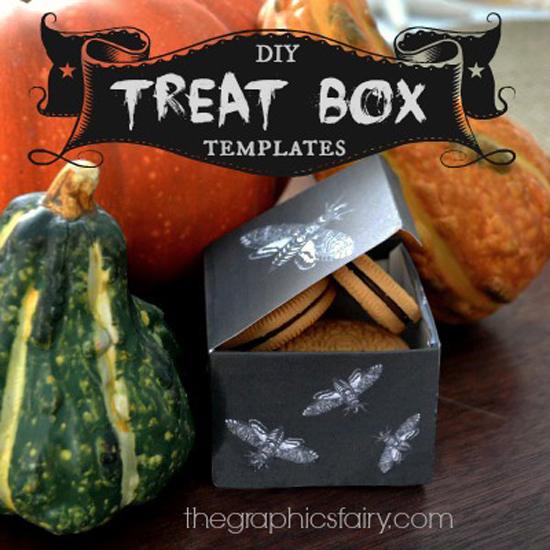 DIY Printable Halloween Treat Boxes with Gourdes