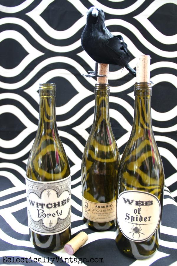 Halloween Wine Bottle Labels
