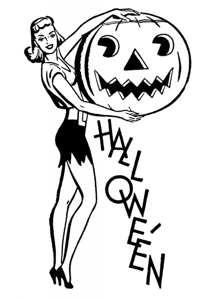 Halloween Retro Lady Image