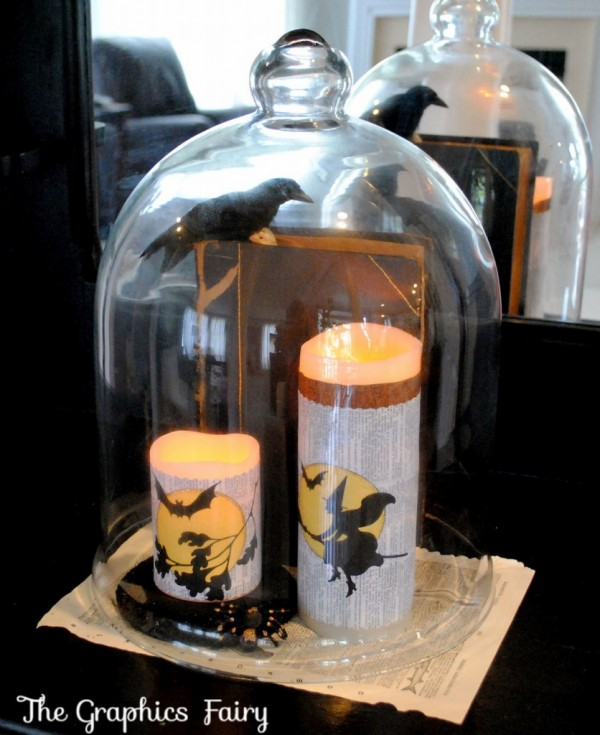 Halloween Candle Wraps Displayed under Glass Cloche