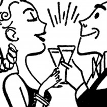 Retro Happy Hour Clip Art