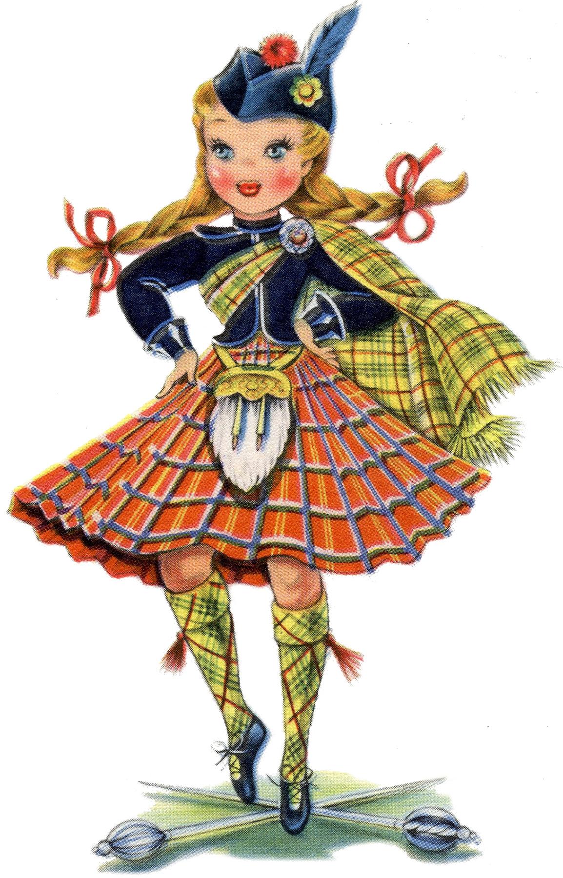 Adorable Retro Scottish Doll Image The Graphics Fairy
