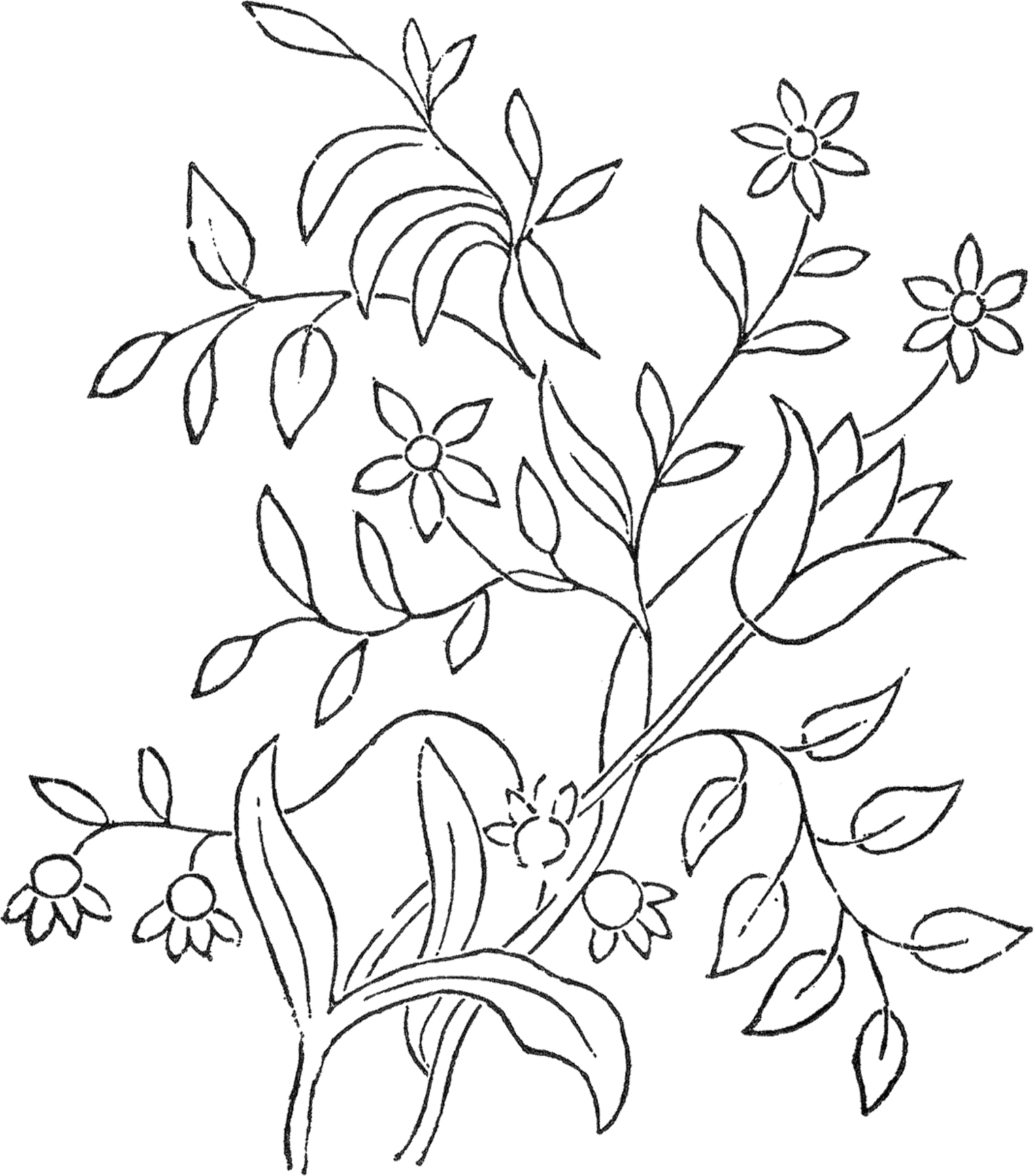 Line Art Embroidery : Flower embroidery pattern the graphics fairy