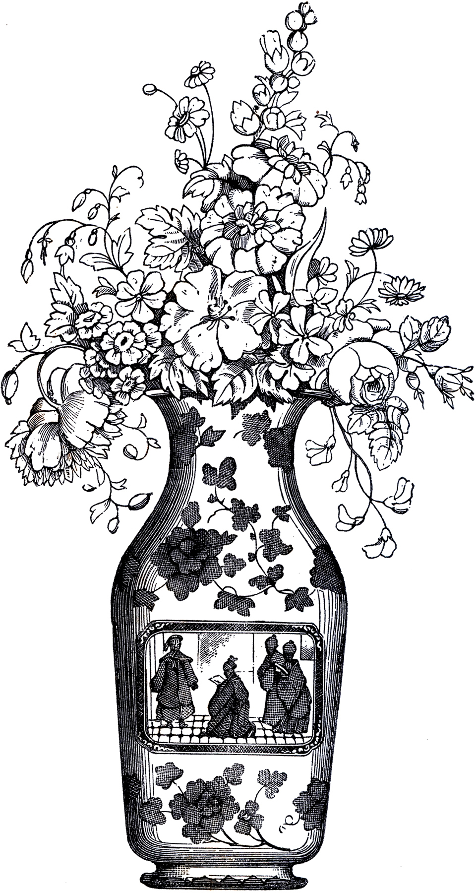 Lovely Vintage Floral Vase The Graphics Fairy