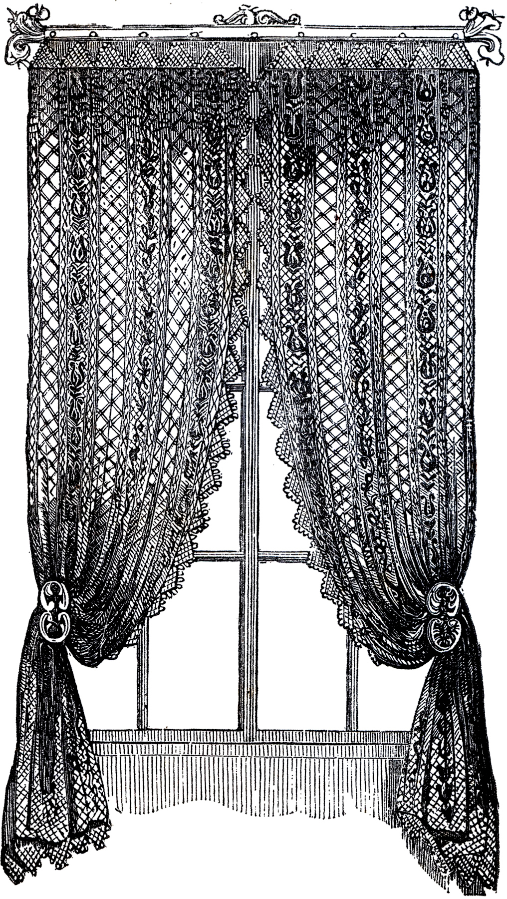 vintage lace curtains clip art