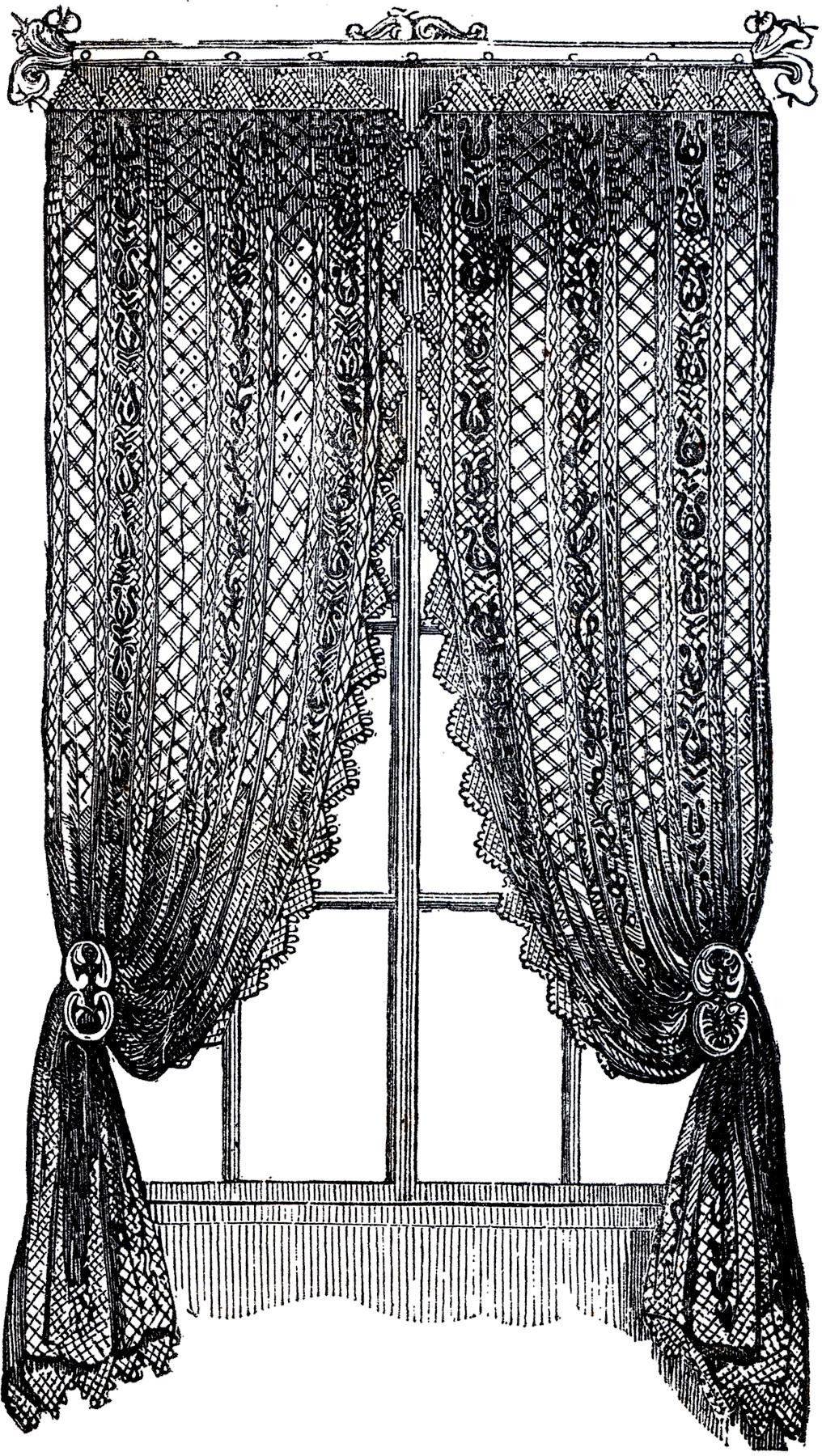 Black lace curtains vintage - Vintage Lace Curtains Clip Art