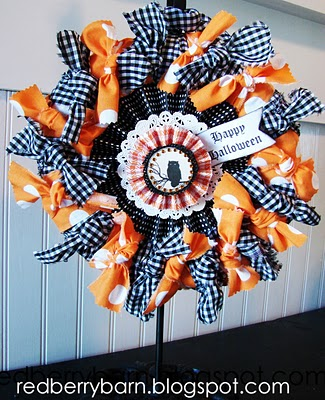 Cute Halloween Ribbon Wreath