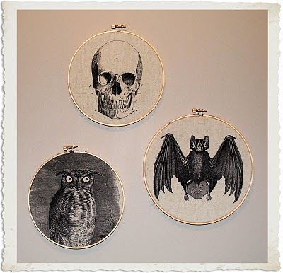 Halloween Art with Embroidery Hoops