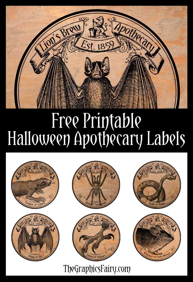 halloween apothecary labels the graphics fairy