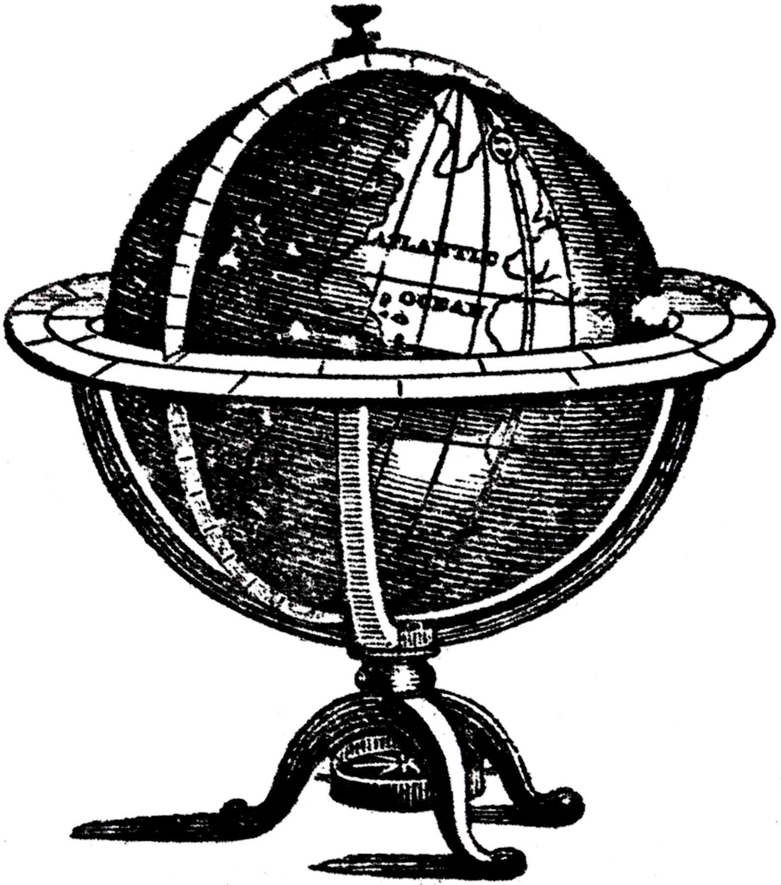 Vintage Globe Line Drawing : Antique globe picture the graphics fairy