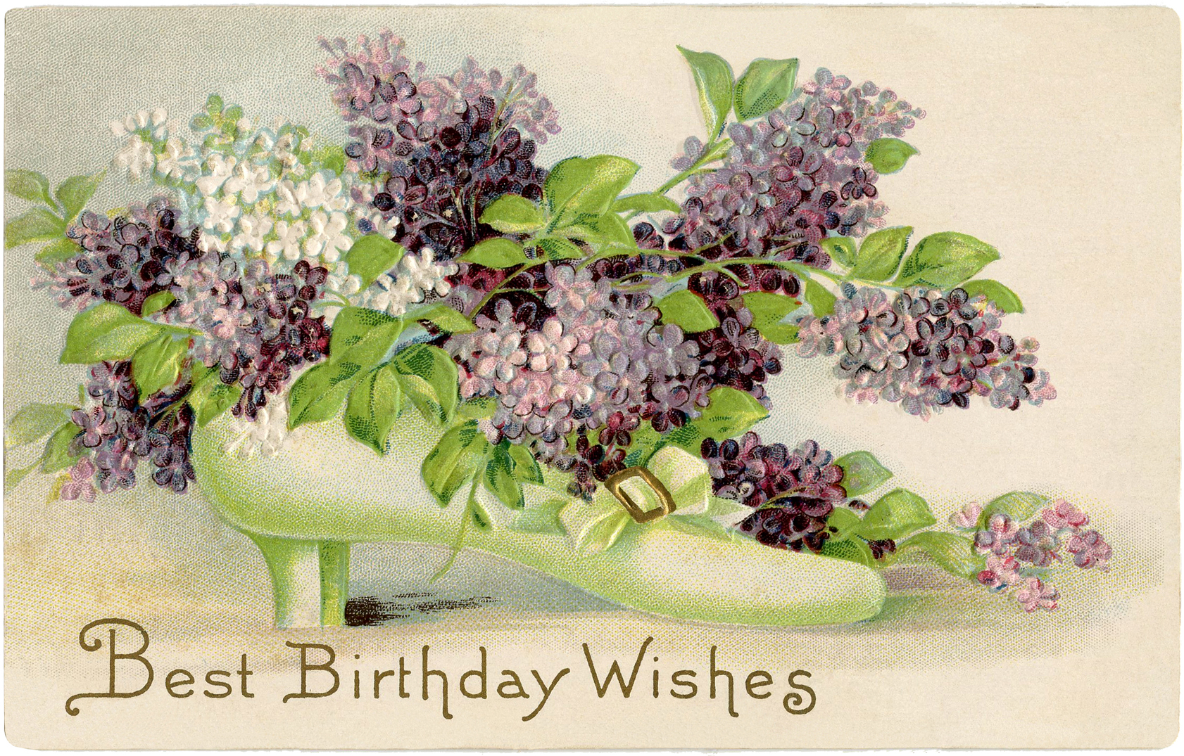 free vintage birthday card - lilacs