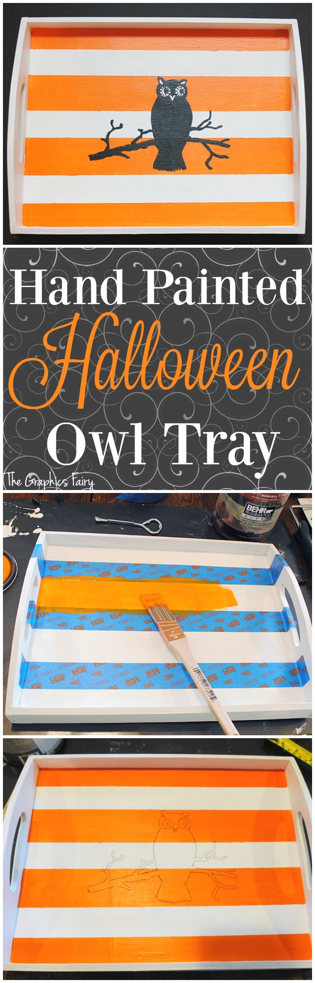 Hand Painted Halloween Owl Tray - The Graphics Fairy