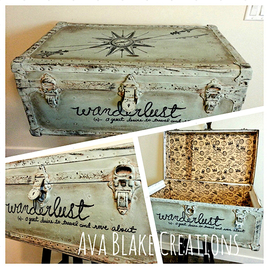 Vintage painted trunk reader featured project the - How to paint an old trunk ...