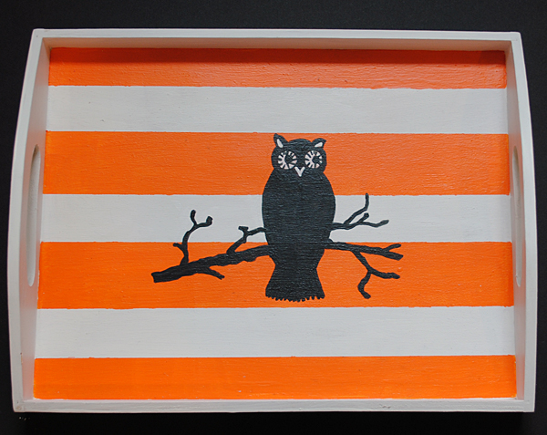 painted halloween owl tray diy