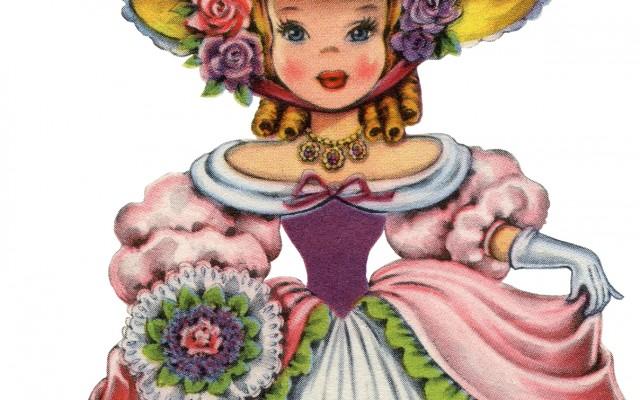 Retro English Doll Image – Pretty Costume!