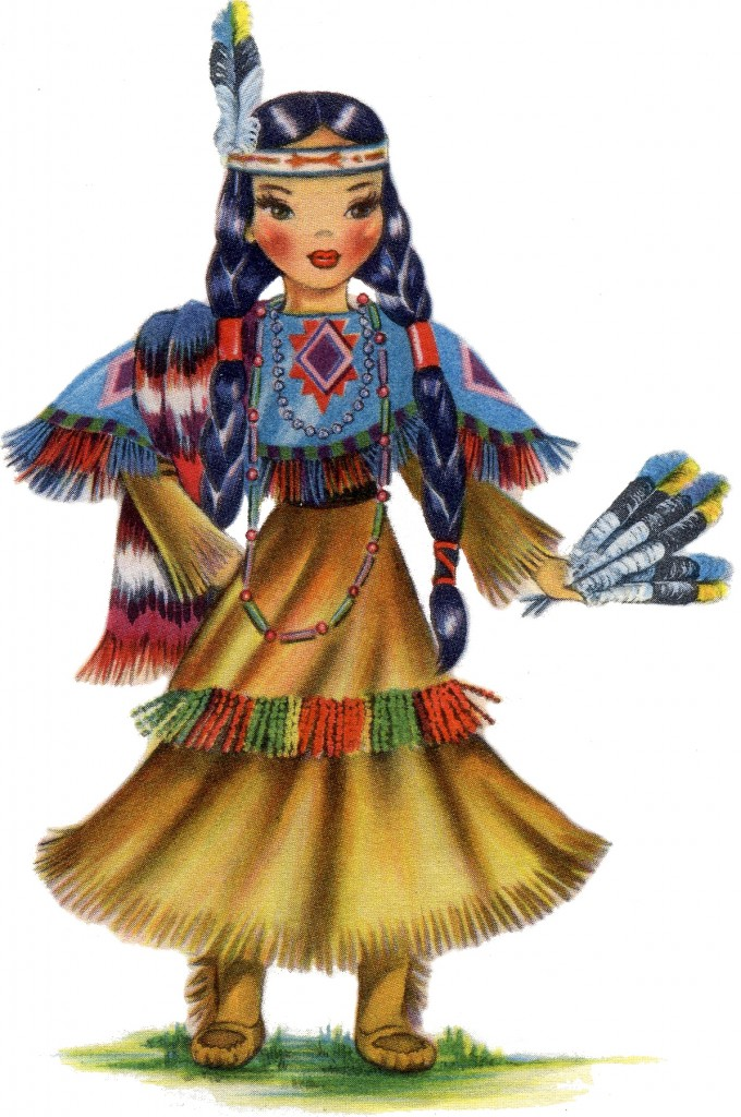 Retro Native American Doll Image