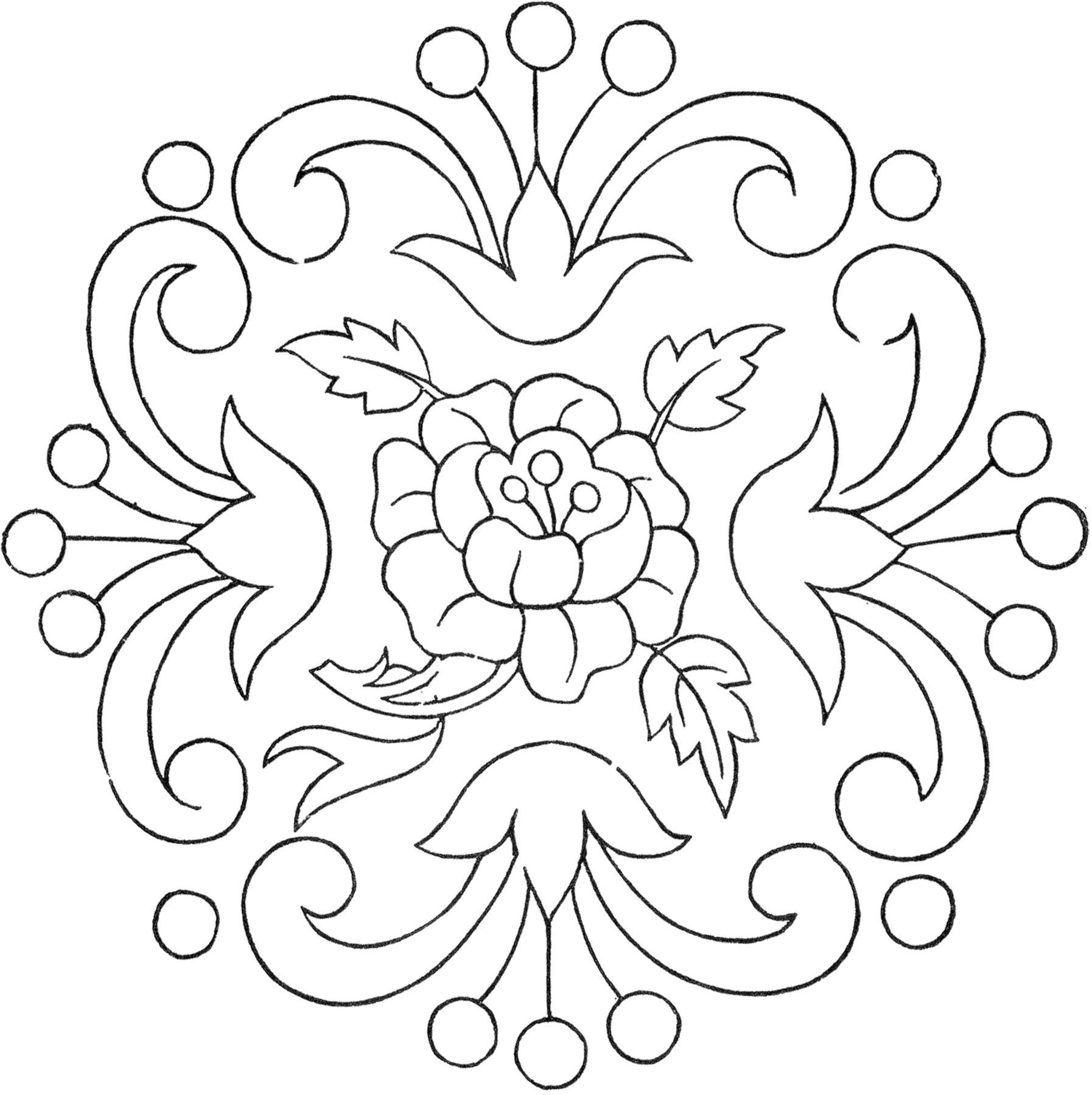 Line Art Embroidery : Vintage floral embroidery pattern the graphics fairy
