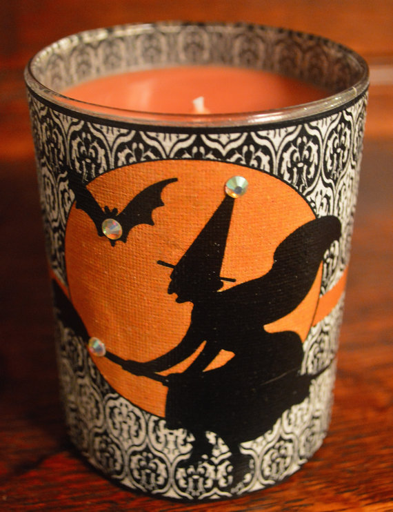 DIY Halloween Votives with Witch