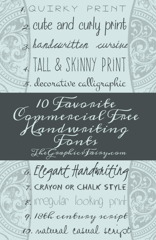 10 Commercial Free Handwriting Fonts The Graphics Fairy