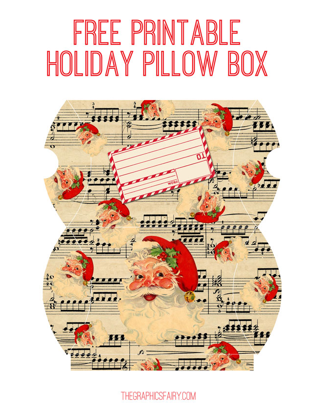 Santa Pillow Box Printable  //  The Graphics Fairy