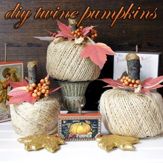 Twine Pumpkin and Leaves DIY Project