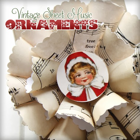 18 - The Graphics Fairy - Santa Sheet Music Ornament
