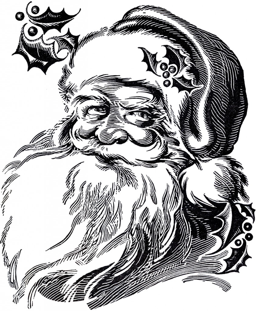 free black and white santa clipart - photo #44