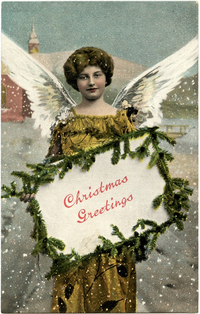 Christmas Greetings Angel Tag with Pine
