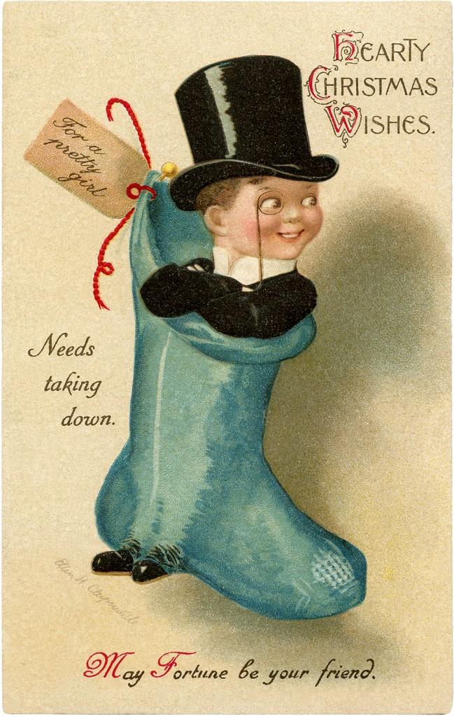 Christmas Stocking Top Hat Man