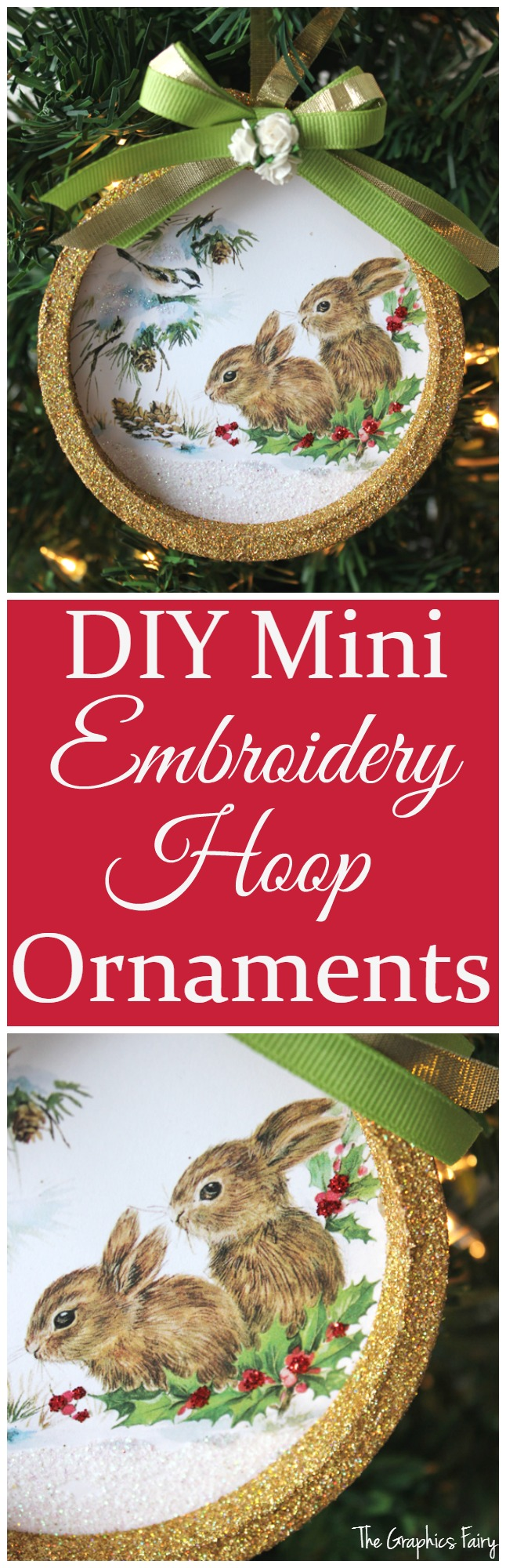 DIY mini Embroidery Hoop Ornaments - The Graphics Fairy