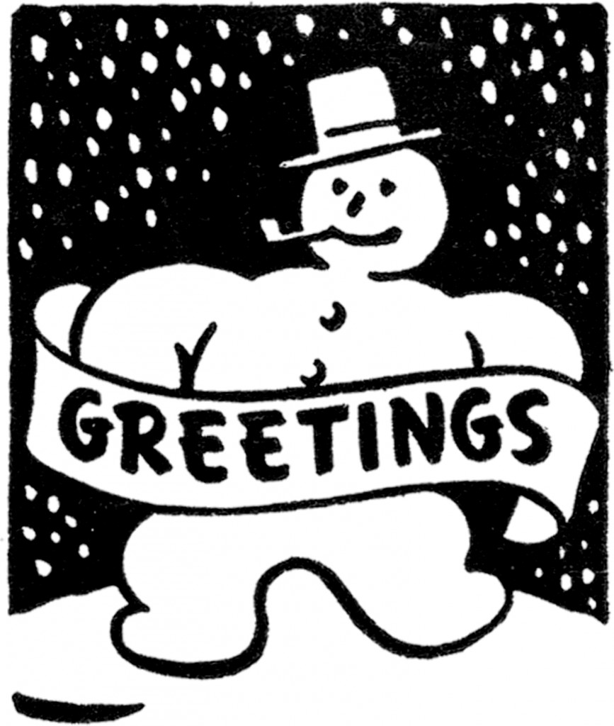 Black and White Snowman Image Clipart