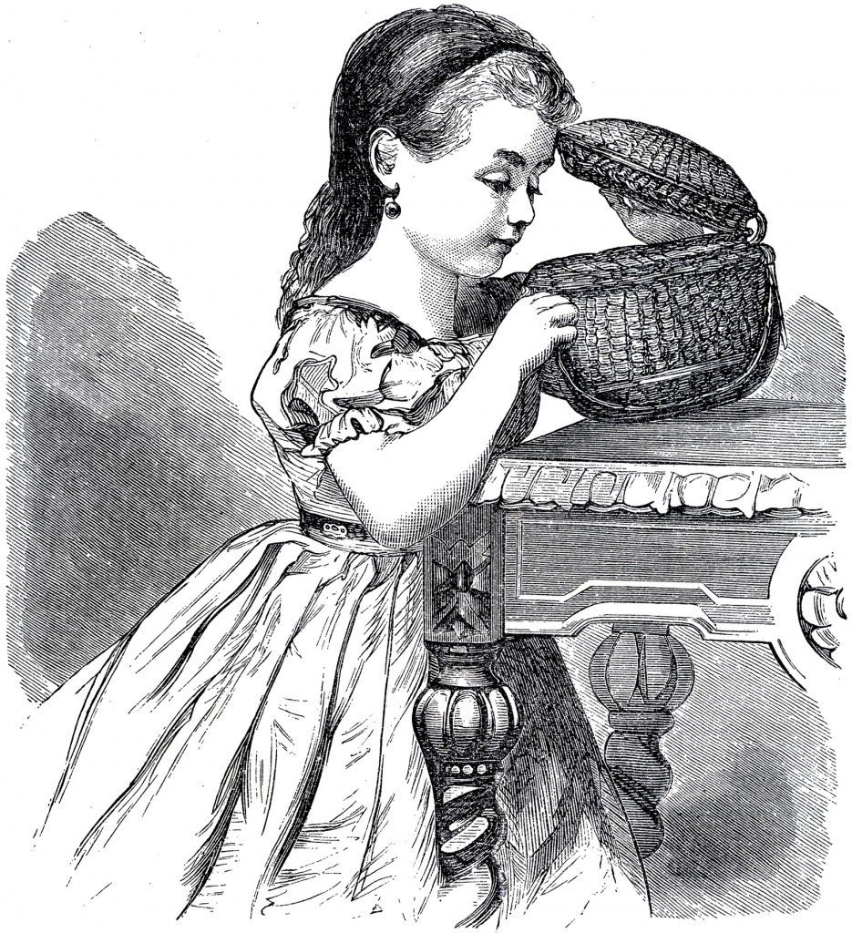 Girl with Basket Drawing