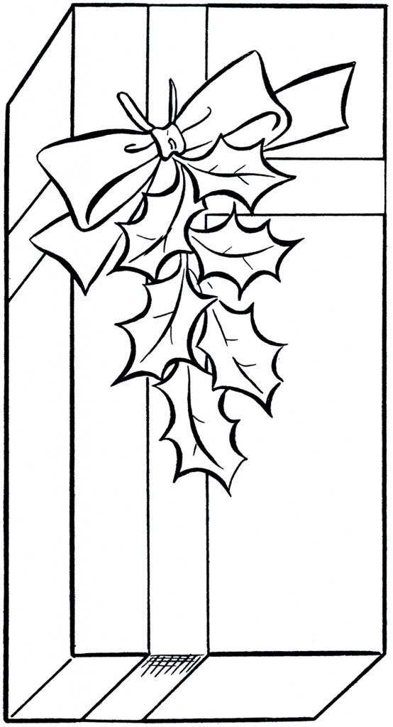 Coloring Book Art Clip : Holiday gift clip art image coloring page the graphics fairy