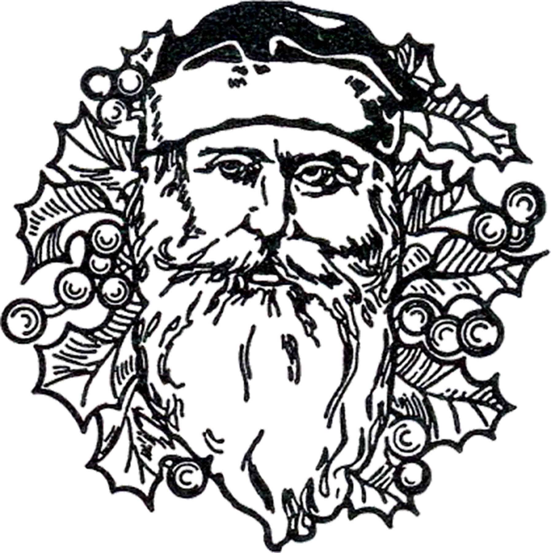 old fashion santa coloring pages - photo#15