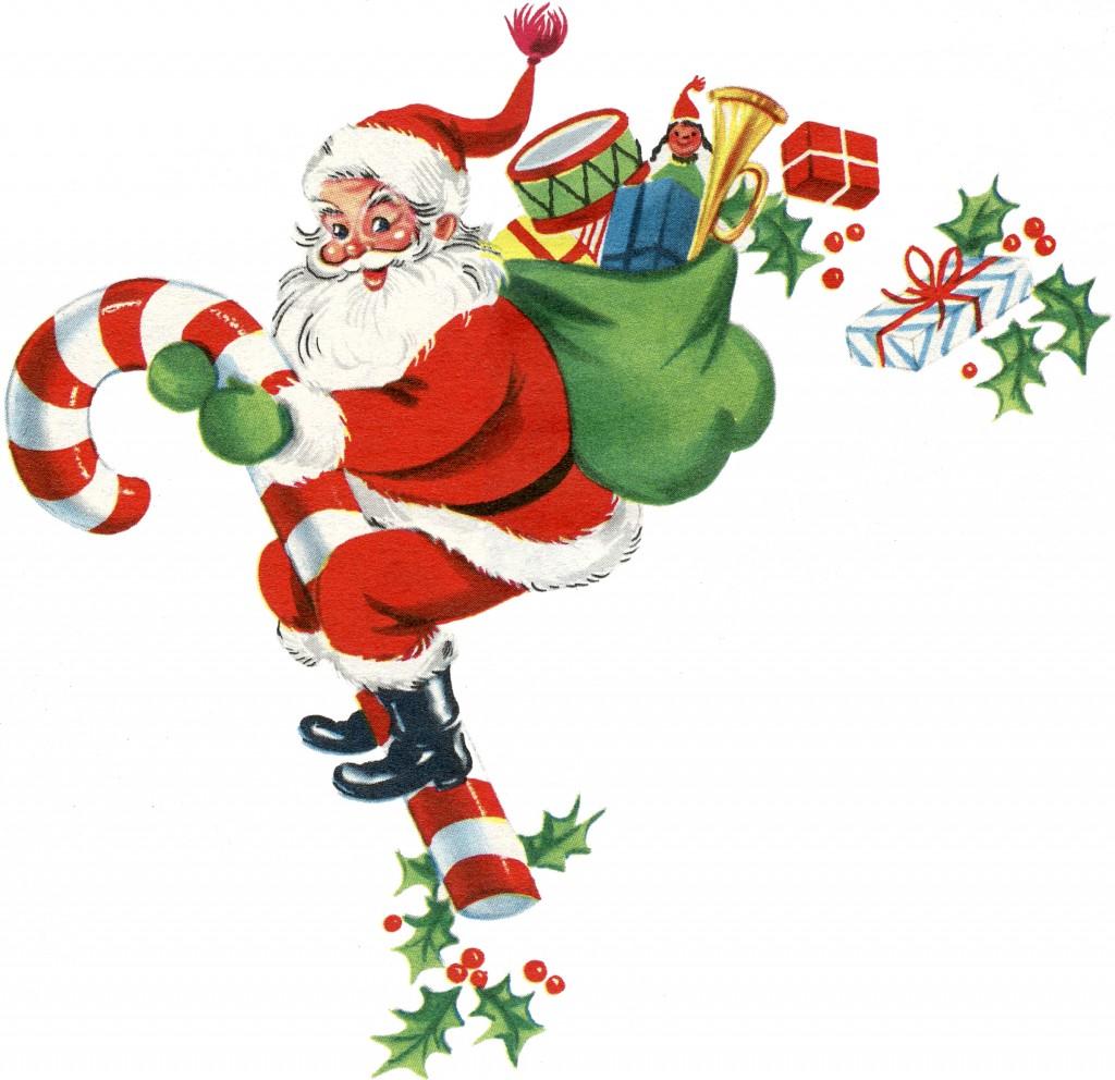 Retro Candy Cane Santa