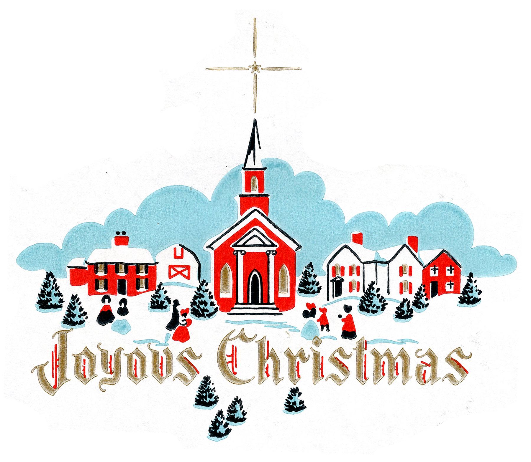 Adorable Retro Christmas Church Scene! - The Graphics Fairy