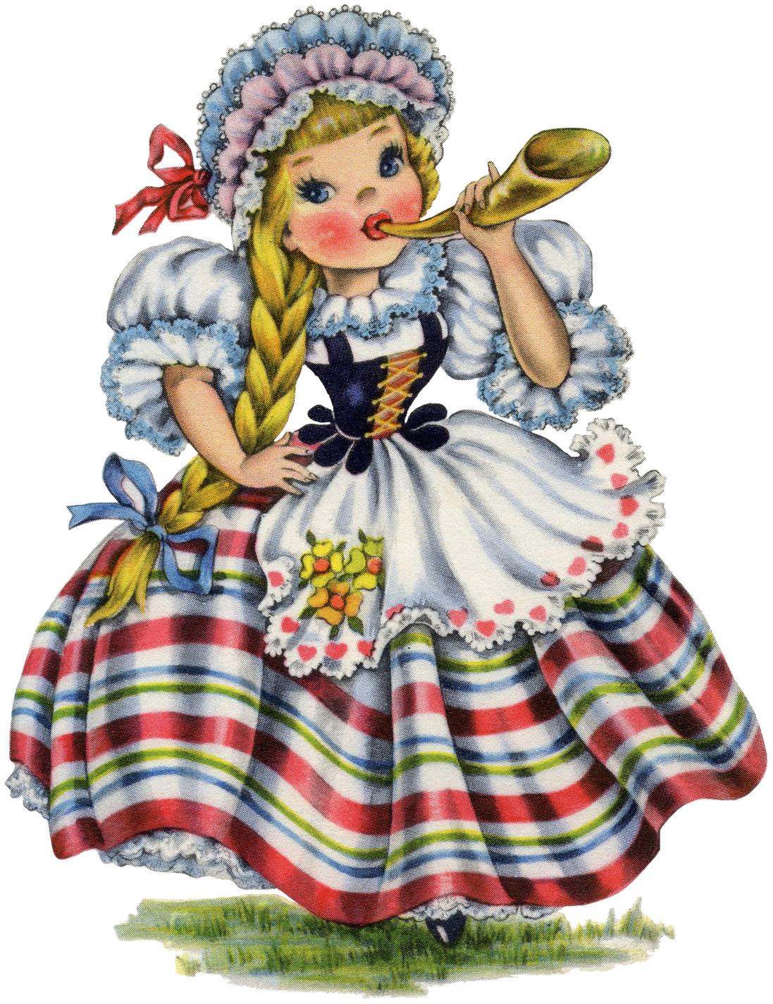 Cute Retro Swiss Doll Image! - The Graphics Fairy