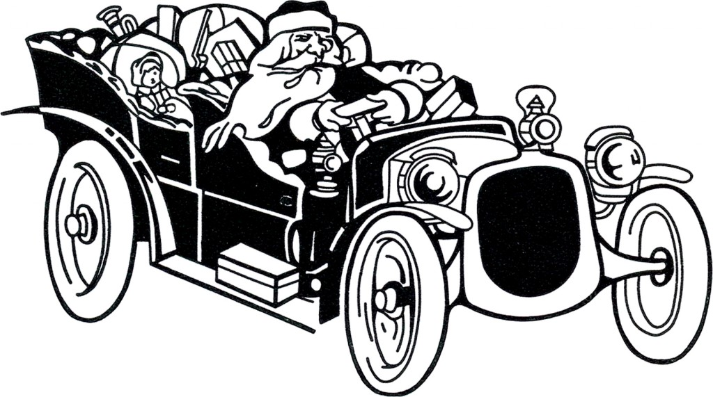 Santa Driving Car Image