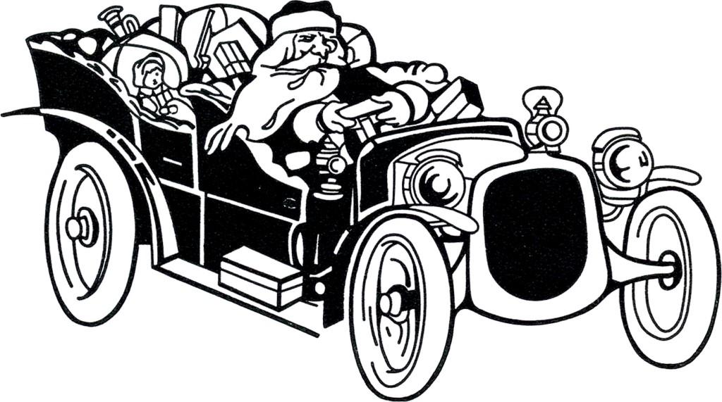 Santa Driving Car Image