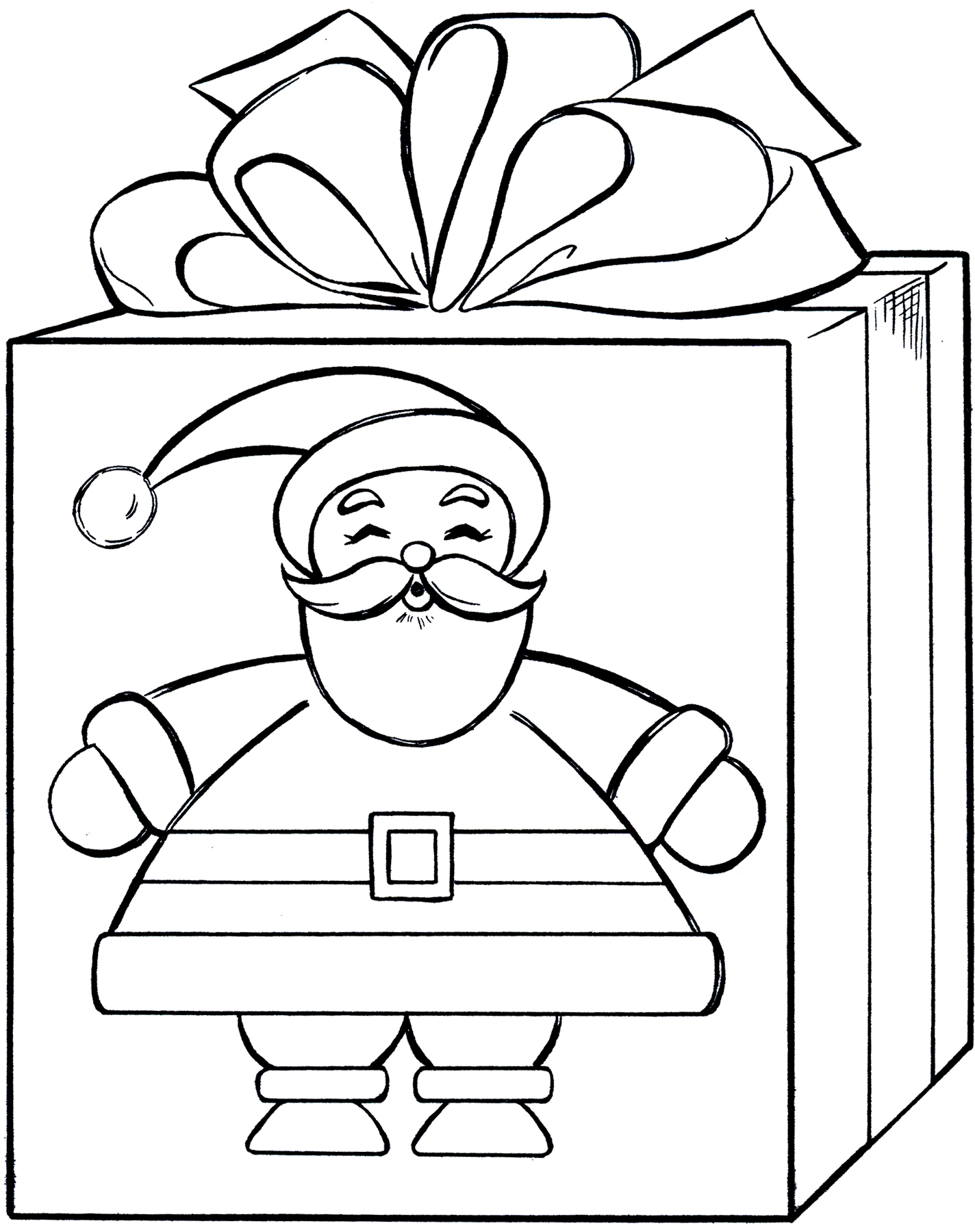 Santa Gift Coloring Page - Cute! - The Graphics Fairy