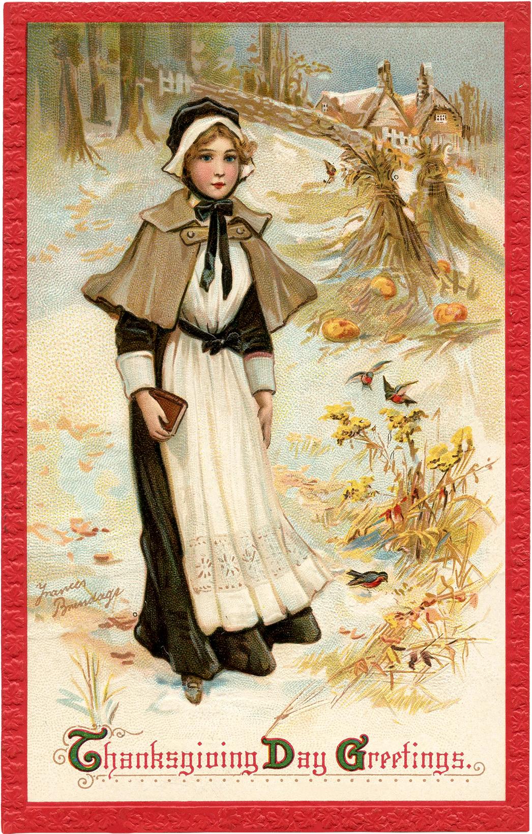 Pretty Thanksgiving Pilgrim Lady Image The Graphics Fairy