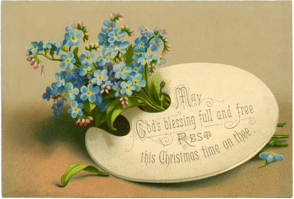 Pretty Victorian Floral Christmas Card The Graphics Fairy