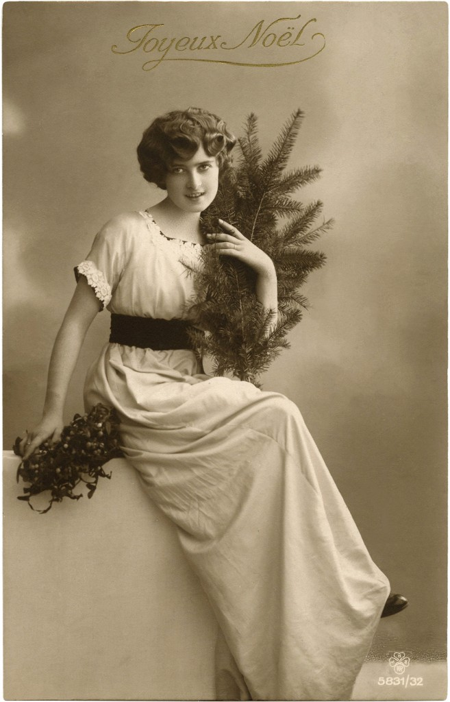 Vintage Christmas Lady Photo