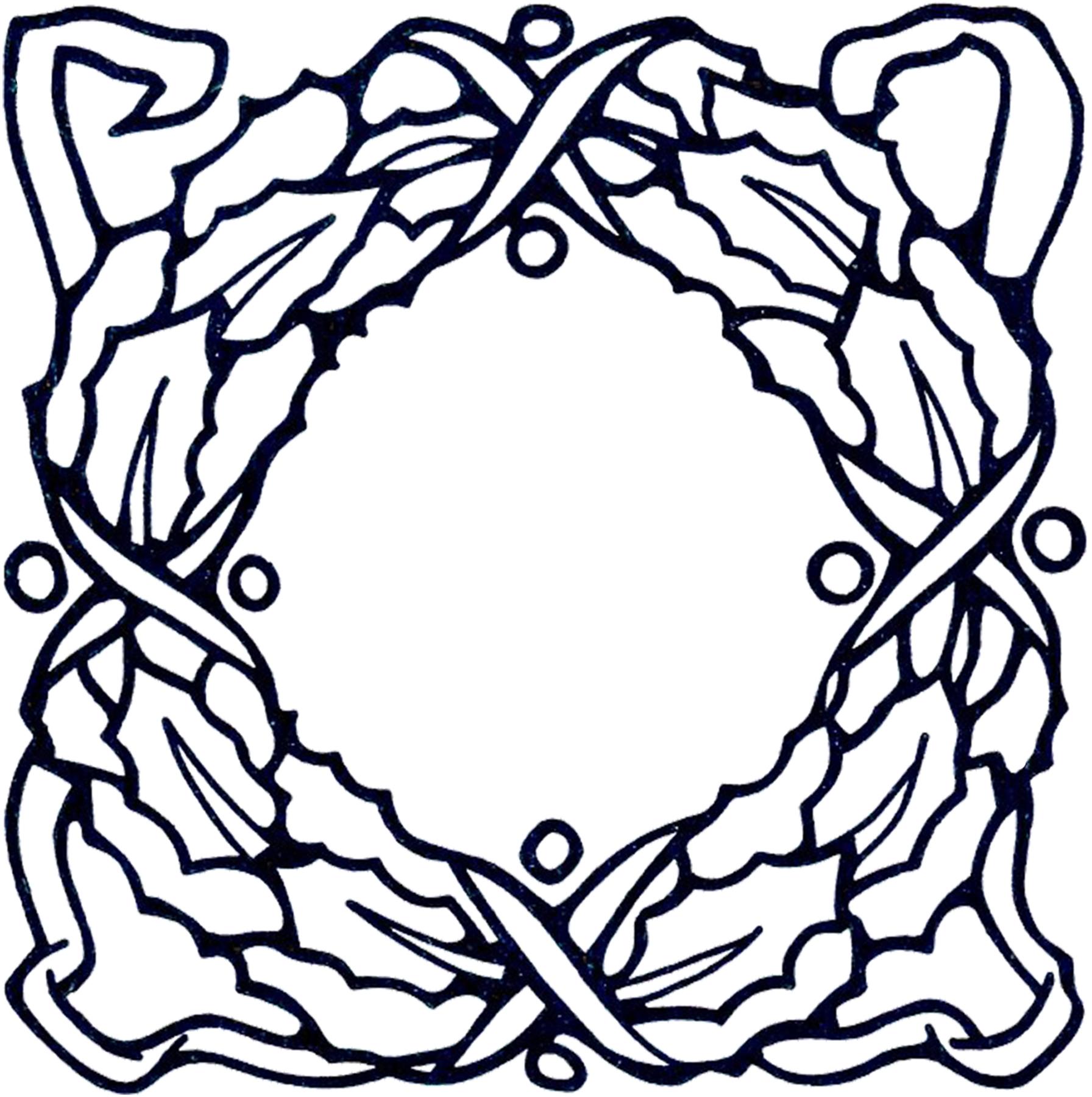 Vintage Christmas Wreath Clip Art - The Graphics Fairy